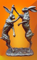 EXCLUSIVE LARGE HOT CAST BOXING HARES BRONZE STATUE
